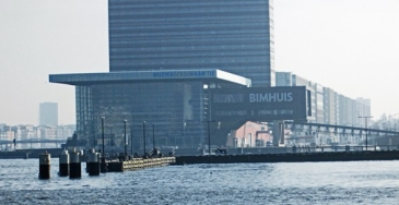 Bimhuis is a modern music venue in Amsterdam's East Docks area overlooking the River Ij