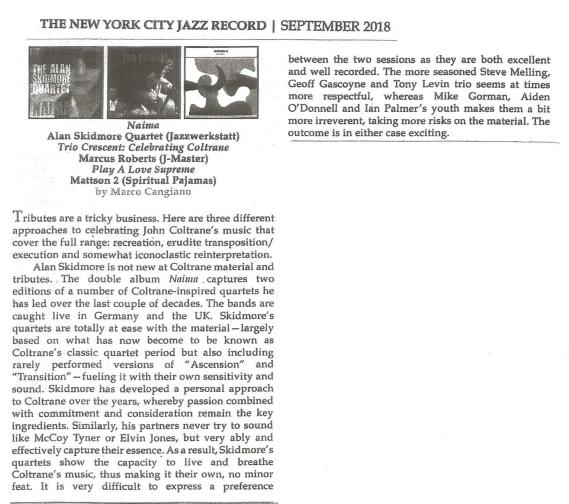NYC Jazz Review Naima review